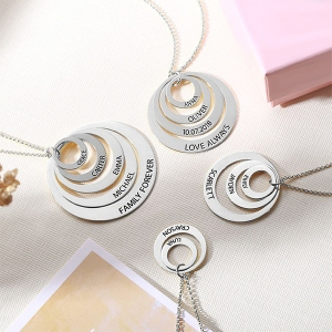 Engraved Family Stacked Circle Necklace Sterling Silver