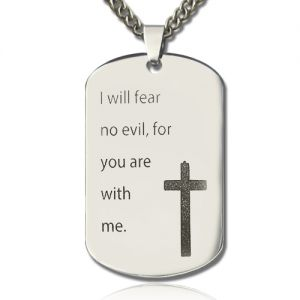 Titanium Steel Man's Dog Tag Cross Nameplate Necklace