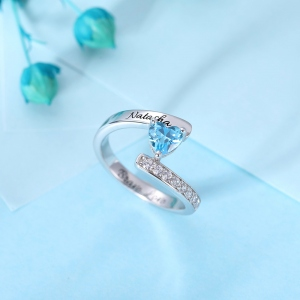 One Heart Birthstone Ring