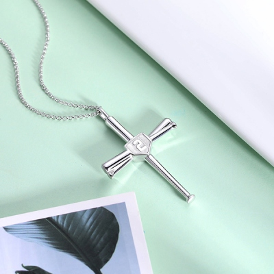 Engraved Double Side Baseball Cross Necklace