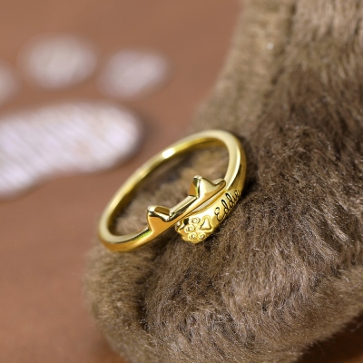 Personalized Name Cat Wrap-around Ring with Ears