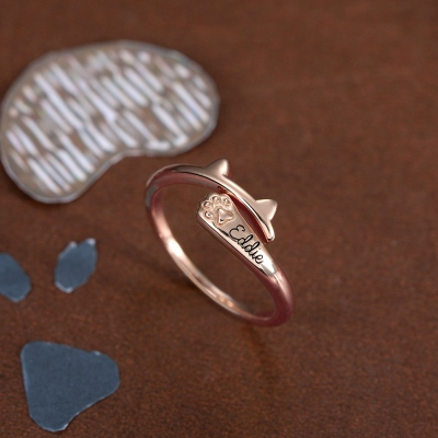Personalized Name Ring with Cat Ears Wrap-around