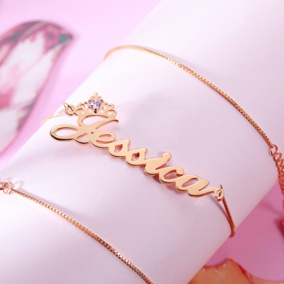 name crown necklace
