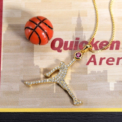 Personalized Flying Basketball Necklace with Birthstone In Gold