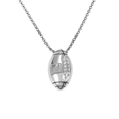 Engraved Football Necklace in Silver