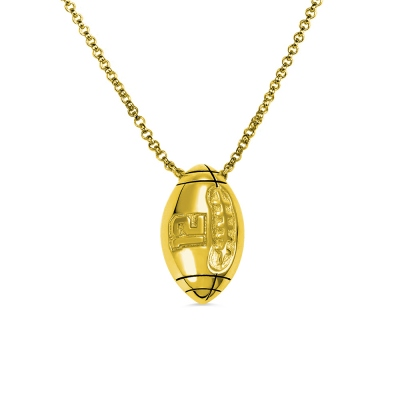 Engraved Football Necklace in Gold