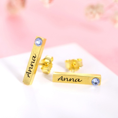 bar earring with name