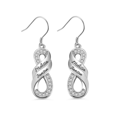 Personalized Infinity Two Names Earrings in Silver