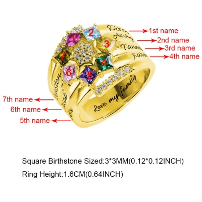 Personalized 1-9 Square Birthstone Ring with Engraving in Gold