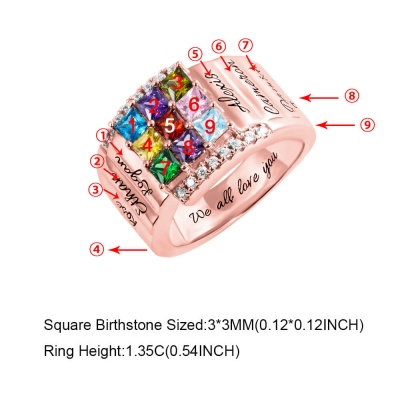 Personalized 1-9 Square Birthstone Ring with Engraving in Rose Gold