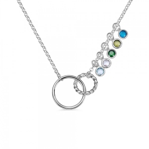 Personalized Mother Daughter Birthstone Necklace