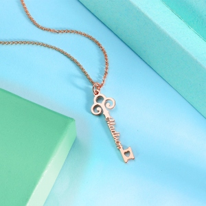 Personalized Key-shaped Name Necklace