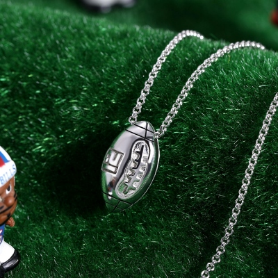 Sterling Silver Engraved Football Necklace
