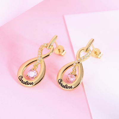 Infinity Name Earrings with Dance Birthstone