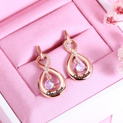 Name Earrings with Dance Birthstone