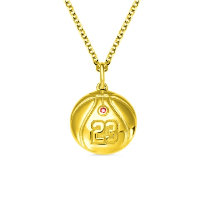 Engraved Basketball Necklace with Number And Birthstone in Gold