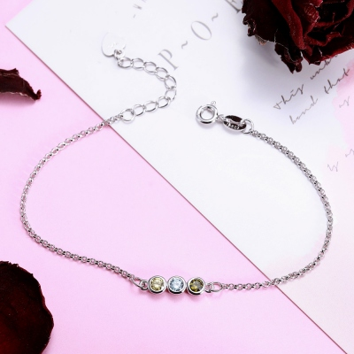 Personalized Birthstone Bracelet Sterling Silver