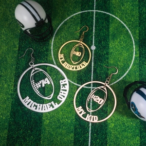 customized rugby earrings
