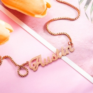 Personalized Sparkling Name Necklace in Rose Gold