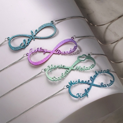 Personalized Colored Infinity Name Necklace