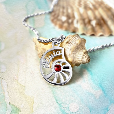 Personalized Name Conch Jewellry with Birthstone