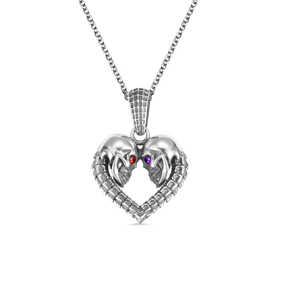 Personalized Skull Heart Necklace with Birthstones
