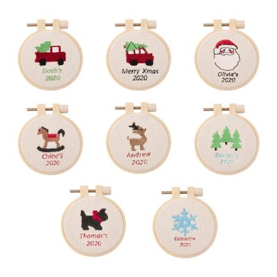 Personalized Christmas Embroidery Ornament for Children