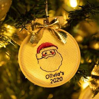 Personalized Christmas Embroidered Ornament for Children