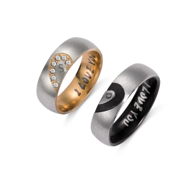 Personalized Heart Couple Rings