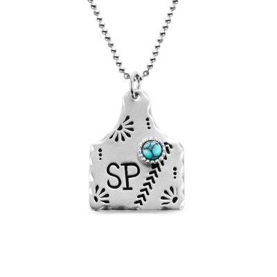 Personalized Cow Tag Turquoise Necklace