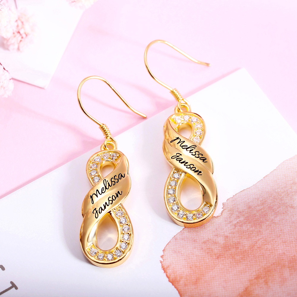 Personalized Infinity Two Name Earrings