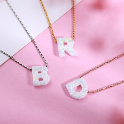 Personalized Natural Opal Letter Necklace