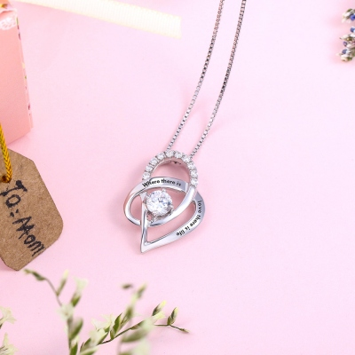 engraved necklace with birthstone