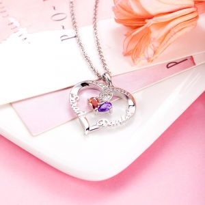 Forever Together Twisted Strings Birthstone name necklace