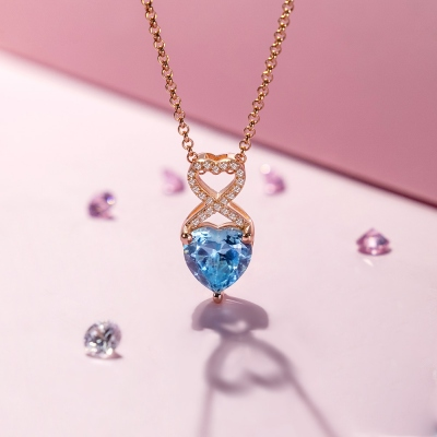 Personalized Heart Birthstone Infinity Necklace