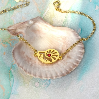 Personalized Name Conch Jewellry with Birthstone in Gold