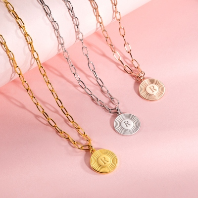 Personalized Initial Link Bracelet & Necklace Set in Rose Gold