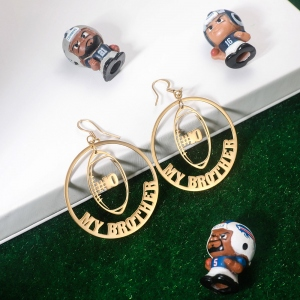 rugby name earrings in stainless steel