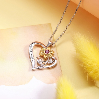 Personalized Heart Necklace with Sunflower