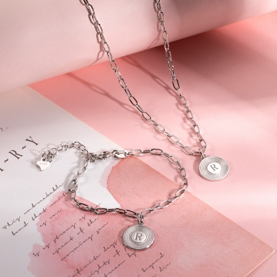 Personalized Initial Link Necklace & Bracelet Set