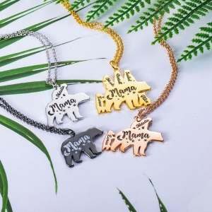 Personalized Mama Bear Necklace for Mom