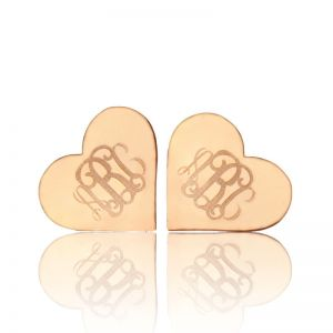 Heart Custom Monogram Earrings Studs Solid Rose Gold