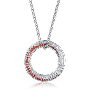 Sterling Silver Mobius Hoop 2 Colour Birthstone Necklace