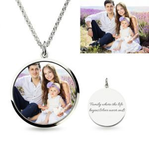 Small Round Engraved Epoxy Color Photography Necklace Sterling Silver