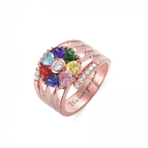 Personalized 7 Heart Birthstone Ring in Rose Gold
