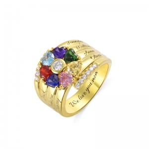 Personalized 7 Heart Birthstone Ring in Gold