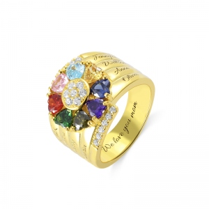 Personalized 8 Heart Birthstone Ring in Gold