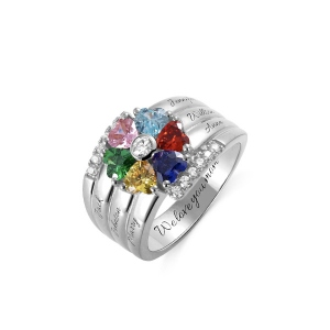 Personalized 6 Birthstone Heart Ring in Silver