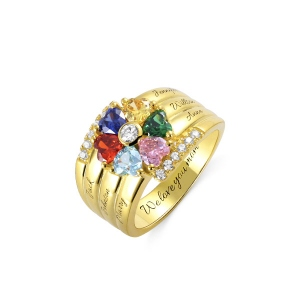 Personalized 6 Birthstone Heart Ring in Gold
