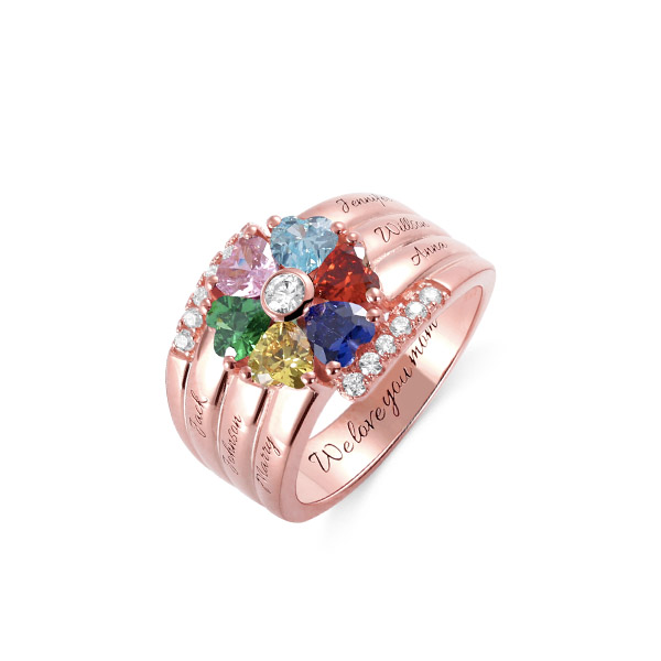 Personalized 6 Birthstone Heart Ring in Rose Gold